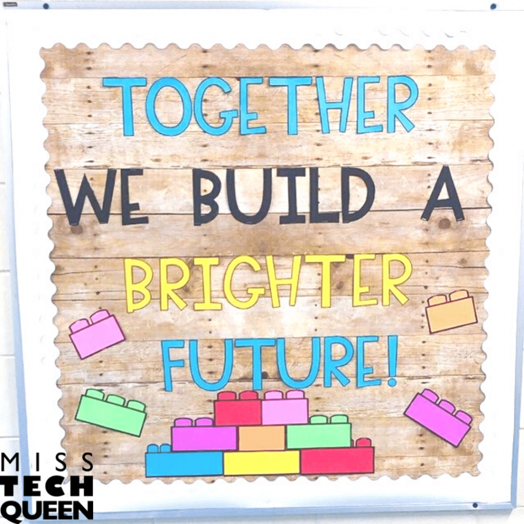 Together we build a brighter future bulletin board is perfect for a STEM Class or Makerspace