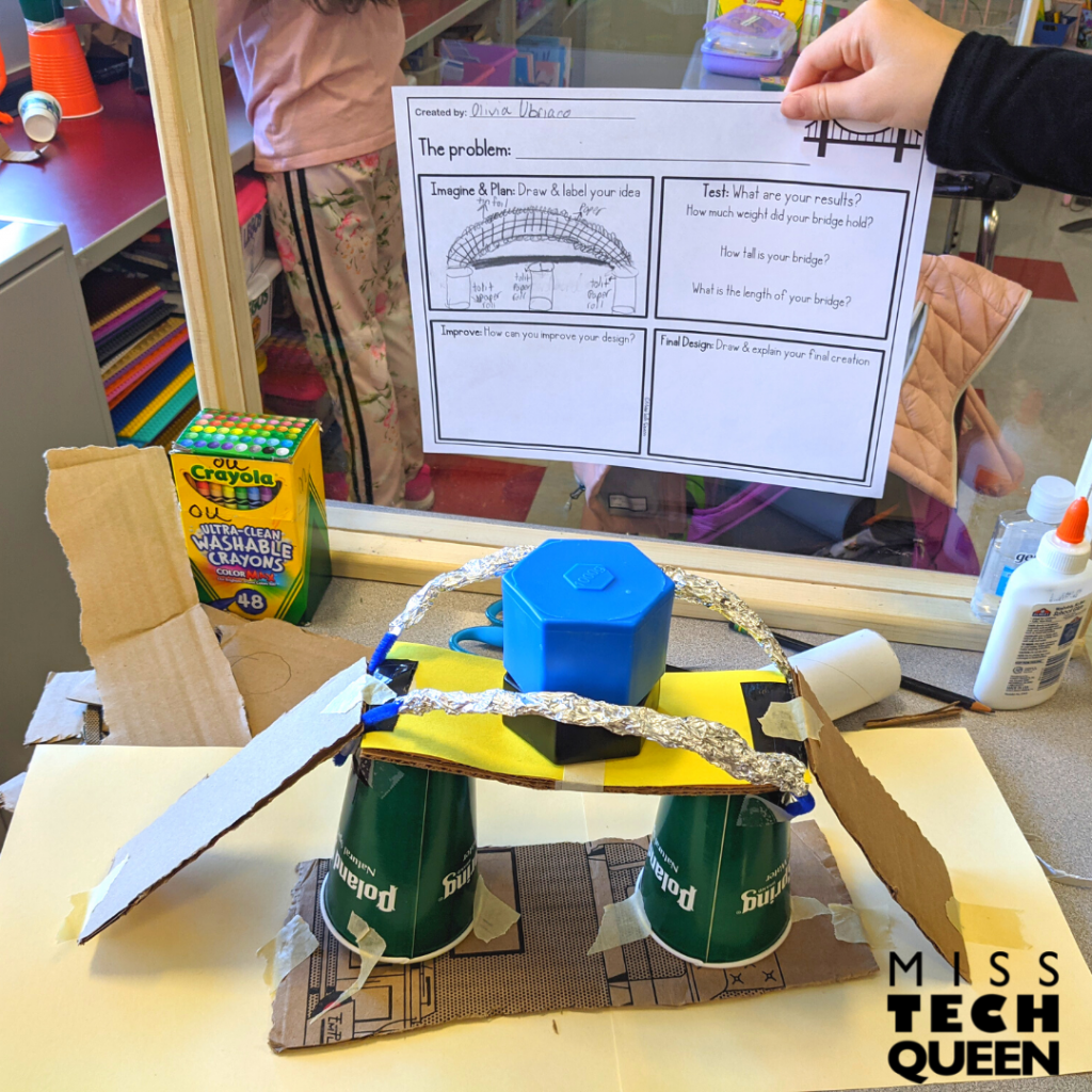 Use recycled objects to build different styles of bridges.